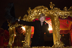 © Licensed to London News Pictures. 06/11/2013. London, UK. Alderman Fiona Woolf, the Lord Mayor Elect waves from the state coach during a rehearsal for the Lord Mayor's Show which takes place in the City of London during the early hours of the morning on 6 November 2013. Photo credit : Vickie Flores/LNP