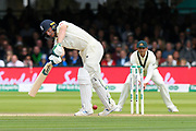 Jos Buttler of England plays a shot and gets two runs during the International Test Match 2019 match between England and Australia at Lord's Cricket Ground, St John's Wood, United Kingdom on 18 August 2019.