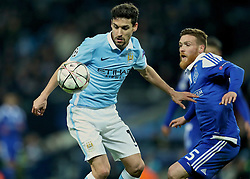 MANCHESTER, ENGLAND - Tuesday, March 15, 2016: Manchester City's Jesus Navas in action against FC Dynamo Kyiv during the UEFA Champions League Round of 16 2nd Leg match at the City of Manchester Stadium. (Pic by David Rawcliffe/Propaganda)