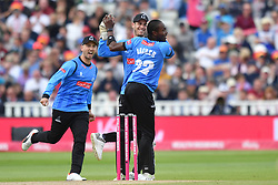 Sussex Sharks' Tymal Mills celebrates as Somerset's Steve Davies is caught behind during the Vitality T20 Blast Semi Final match on Finals Day at Edgbaston, Birmingham.