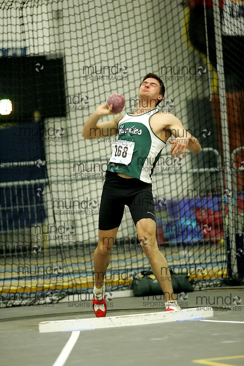 (Windsor, Ontario---11 March 2010) Chris Crossley of University of Saskatchewan competes in the  competes in the pentathlon shot put at the 2010 Canadian Interuniversity Sport Track and Field Championships at the St. Denis Center. Photograph copyright Sean Burges/Mundo Sport Images. www.mundosportimages.com
