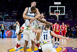 Vlatko Cancar of Slovenia, Anthony Randolph of Slovenia, Goran Dragic of Slovenia and Jaka Blazic of Slovenia celebrating after winning during the Final basketball match between National Teams  Slovenia and Serbia at Day 18 of the FIBA EuroBasket 2017 when Slovenia became European Champions 2017, at Sinan Erdem Dome in Istanbul, Turkey on September 17, 2017. Photo by Vid Ponikvar / Sportida