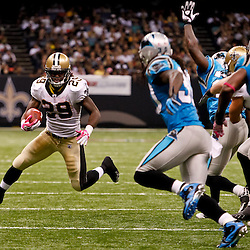 October 3, 2010; New Orleans, LA, USA; New Orleans Saints running back Chris Ivory (29) runs against the Carolina Panthers during the second half at the Louisiana Superdome. The Saints defeated the Panthers 16-14. Mandatory Credit: Derick E. Hingle