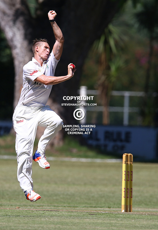 Dwayne Pretorious of the bizhub Highveld Lions bowls during Day 1 of the Sunfoil Series match between Hollywoodbets Dolphins and the bizhub Highveld Lions at the City Oval, Pietermaritzburg,South Africa. 19th January 2017  - (Photo by Steve Haag)