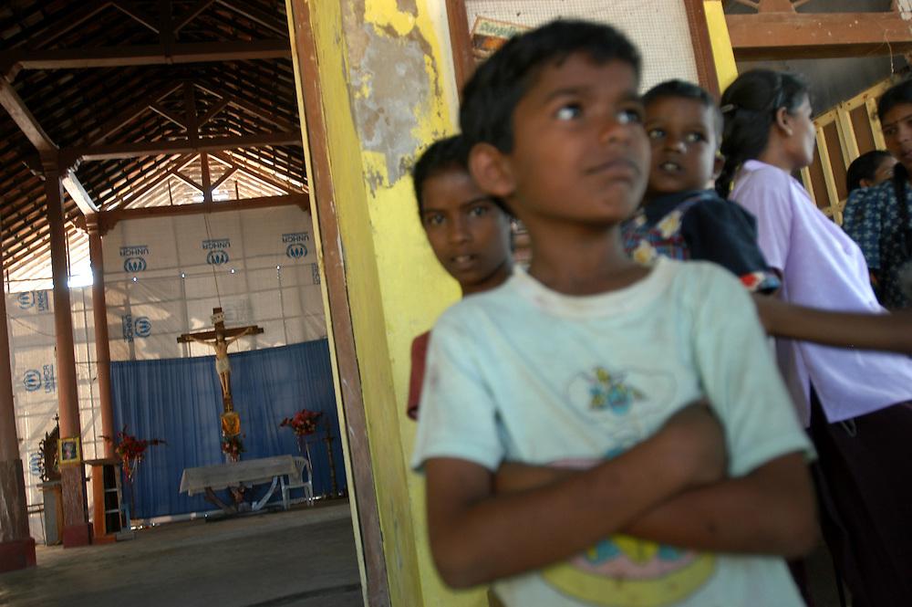 Children displaced by the December 26, 2004 Tsunami that struck S.E. Asia living at the Sakkoddai Catholic School..Sakkoddai, Point Pedro, Sri Lanka. 14/01/2005.Photo © J.B. Russell