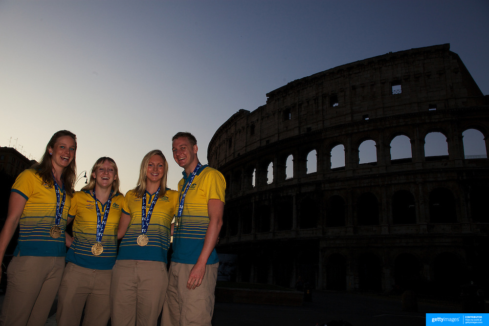 Australian Gold medal winners during a 6am photo shoot outside the  Coloseum. Pictured from left to right are Marieke Guehrer, Jessicah Schipper, Melissa Gorman and Brenton Rickard in Rome, Italy on  Monday, August 03, 2009. Photo Tim Clayton.