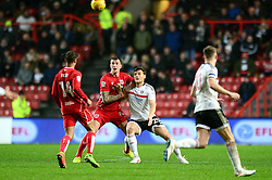 Aden Flint of Bristol City challenges for the ball with Chris Martin of Fulham - Mandatory by-line: Dougie Allward/JMP - 22/02/2017 - FOOTBALL - Ashton Gate - Bristol, England - Bristol City v Fulham - Sky Bet Championship