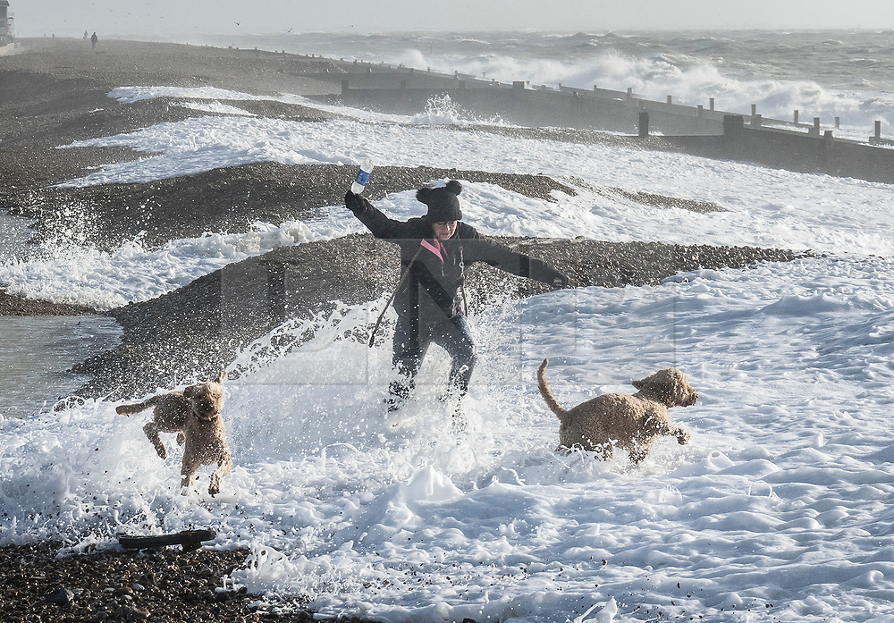 © Licensed to London News Pictures. 03/01/2018. Hayling Island, UK. A woman walking her two dogs gets caught out by a big wave as strong winds bring high tide on the beach at  Hayling Island as Storm Eleanor hits the south. Winds of up to 80 mph are being forecast today in parts of the UK. Photo credit: Peter Macdiarmid/LNP