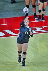 BLOOMINGTON, IL - October 12: Gabrielle Daniels during a college Women's volleyball match between the ISU Redbirds and the Valparaiso Crusaders on October 12 2018 at Illinois State University in Bloomington, IL. (Photo by Alan Look)