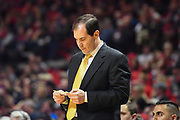 LUBBOCK, TX - DECEMBER 29: Head coach Scott Drew of the Baylor Bears reviews his notes during the game against the Texas Tech Red Raiders on December 29, 2017 at United Supermarket Arena in Lubbock, Texas. Texas Tech defeated Baylor 77-53. (Photo by John Weast/Getty Images) *** Local Caption *** Scott Drew