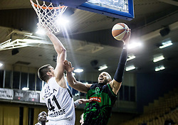 Dzordze Gagic of Partizan NIS vs Jordan Morgan of Petrol Olimpija during basketballl match between KK Petrol Olimpija Ljubljana and KK Partizan NIS mts in Round #20 of ABA League 2017/18, on February 10, 2018 in Tivoli sports hall, Ljubljana, Slovenia. Photo by Vid Ponikvar / Sportida