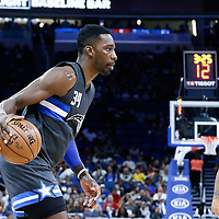 25 February 2017: Orlando Magic forward Jeff Green (34) dribbles during the Orlando Magic 105-86 victory over the Atlanta Hawks, at the Amway Center, Orlando, Florida, USA.