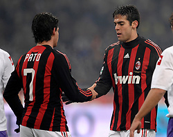 Alexandre Pato and Ricardo Kaka shake hands during the Serie A match against Fiorentina on January 17, 2009 at San Siro Stadium in Milan. AC Milan defeated Fiorentina 1-0.