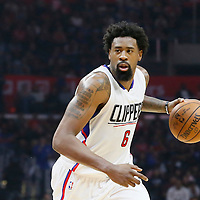 09 November 2015: Los Angeles Clippers center DeAndre Jordan (6) dribbles during the Los Angeles Clippers 94-92 victory over the Memphis Grizzlies, at the Staples Center, in Los Angeles, California, USA.