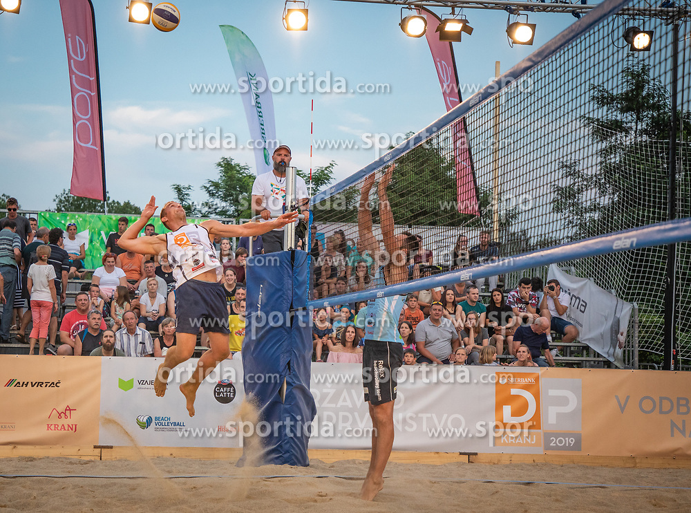 Matevz Berk and Andrej Grut vs. Crt Bosnjak and Miha Plotduring the match for 3rd on Beach volley National Championship of Slovenia  on July 20, 2019 in Kranj, Slovenia. Photo by Urban Meglic / Sportida