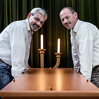 Nederland, Hoorn, 26 augustus 2016.<br /> Arjen Dragt (r) en Peter Arts van de Doe het Zelf uitvaart in Hoorn.<br /> <br /> Arjen Dragt (R) and Peter Arts from  Do-it-yourself funeral compnay in Hoorn, the Netherlands.<br /> <br /> Foto: Jean-Pierre Jans