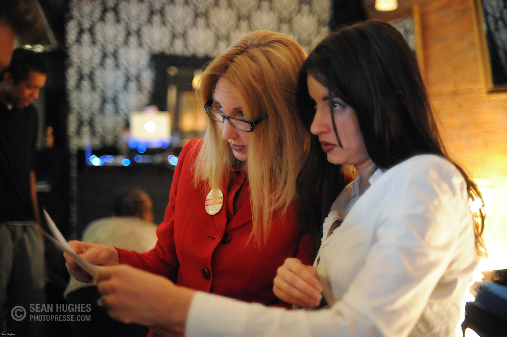 Laure Quinliven and her campaign manager Mary Beth Poulimenos at FB's. November 3, Election night, 2009.