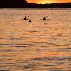 Kayaking into the sunset.  Frenchman Bay, bar Harbor, Maine.  Mount Desert Island.