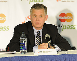 WHL Commisioner and CHL Vice-President Ron Robison at the Canadian Hockey League media conference at the MasterCard Memorial Cup in Brandon, MB on Friday. Photo by Aaron Bell/CHL Images