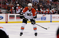 Oct 3, 2009; Newark, NJ, USA; Philadelphia Flyers defenseman Chris Pronger (20) during the first period of their game against the New Jersey Devils at the Prudential Center.