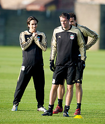 LIVERPOOL, ENGLAND - Monday, November 3, 2008: Liverpool's Jamie Carragher and Yossi Benayoun during training at Melwood ahead of the UEFA Champions League Group D match against Club Atletico de Madrid. (Photo by David Rawcliffe/Propaganda)