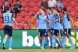 January 8, 2018 - Brisbane, QUEENSLAND, AUSTRALIA - Adrian Mierzejewski of Sydney (11, centre) celebrates after scoring a goal during the round fifteen Hyundai A-League match between the Brisbane Roar and Sydney FC at Suncorp Stadium on Monday, January 8, 2018 in Brisbane, Australia. (Credit Image: © Albert Perez via ZUMA Wire)