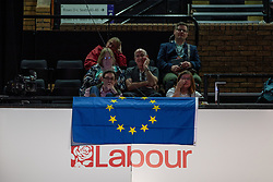 © Licensed to London News Pictures . 23/09/2019. Brighton, UK. Delegates drape an EU flag from the balcony during the third day of the 2019 Labour Party Conference at the Brighton Centre . Photo credit: Joel Goodman/LNP