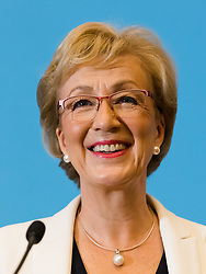 © Licensed to London News Pictures. 11/06/2019. London, UK.  Tory leadership candidate ANDREA LEADSOM speaking at her leadership campaign launch event held in Westminster this morning. Former House of Commons leader, Andrea Leadsom is one of the final ten candidates who are standing to become leader of the Conservative Party and British Prime Minister. Photo credit: Vickie Flores/LNP