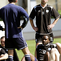 St Johnstone Training...27.04.07<br />Peter MacDonald and Jason Scotland listen to owen Coyle after training this morning before tomorrow's first division title clinc game against Hamilton.<br />see story by Gordon Bannerman Tel: 01738 553978 or 07729 865788<br />Picture by Graeme Hart.<br />Copyright Perthshire Picture Agency<br />Tel: 01738 623350  Mobile: 07990 594431