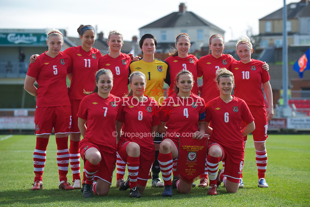 LLANELLI, WALES - Saturday, April 2, 2011: Wales' players during the UEFA European Women's Under-19 Championship Second Qualifying Round (Group 3) match against Iceland at Stebonheath Park. Back row L-R: Lauren Price, Ellis Parsons, Hannah Keryakopolis, goalkeeper Katy Maddock, Jasmin Dutton, Tija Richardson, Rachel Rowe. Front row L-R: Megan Wynne, Josie Green, captain Nia Jones, Hayley Ladd. (Photo by David Rawcliffe/Propaganda)