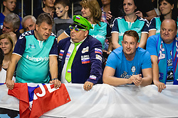 Slovenian fans before friendly handball match between Slovenia and Nederland, on October 25, 2019 in Športna dvorana Hardek, Ormož, Slovenia. Photo by Blaž Weindorfer / Sportida