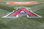 ANAHEIM, CA - MAY 06:  The logo of the Los Angeles Angels of Anaheim is painted on the grass behind home plate during the game against the Toronto Blue Jays on Sunday, May 6, 2012 at Angel Stadium in Anaheim, California. The Angels won the game 4-3. (Photo by Paul Spinelli/MLB Photos via Getty Images)
