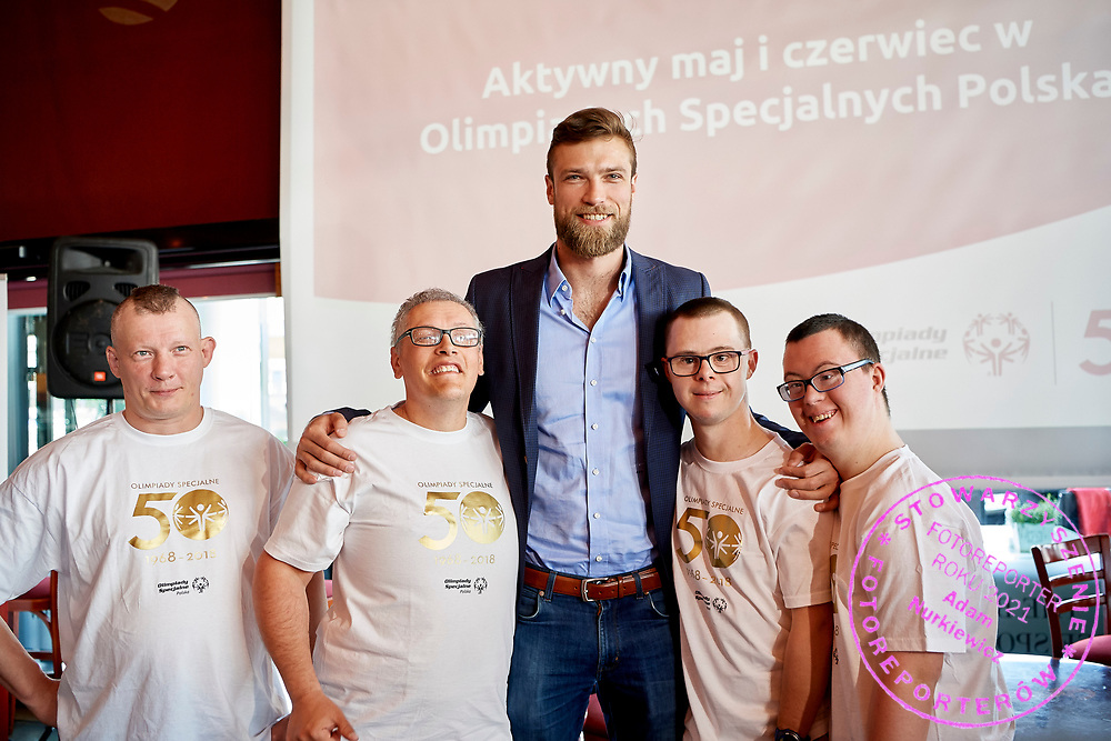 Warsaw, Poland - 2018 May 10: (L-R) Robert Sosnowski  and Adam Jaczewski and Special Olympics Ambassador Andrzej Wrona and Kuba Kazibet and Cezary Kubik pose to the picture while Special Olympics Press Conference at Marriott Champions Sport Bar on May 10, 2018 in Warsaw, Poland.<br /> <br /> Adam Nurkiewicz declares that he has no rights to the image of people at the photographs of his authorship.<br /> <br /> Picture also available in RAW (NEF) or TIFF format on special request.<br /> <br /> Any editorial, commercial or promotional use requires written permission from the author of image.<br /> <br /> Image can be used in the press when the method of use and the signature does not hurt people on the picture.<br /> <br /> Mandatory credit:<br /> Photo by &copy; Adam Nurkiewicz / Mediasport