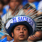 An El Salvador fan during the El Salvador Vs Trinidad and Tobago CONCACAF Gold Cup group B football match at Red Bull Arena, Harrison, New Jersey. USA. 8th July 2013. Photo Tim Clayton
