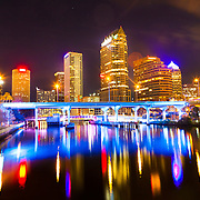 The Lights On Tampa project livens up the city skyline over the Hillsborough River downtown.