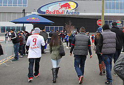 Mar 16, 2013; Harrison, NJ, USA; Fans walk to the stadium before the game between the DC United and the New York Red Bulls at Red Bull Arena.
