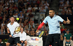 SYDNEY, Jan. 8, 2018  Nick Kyrgios(R)/Lleyton Hewitt compete during the FAST4 of Sydney International match between Nick Kyrgios/Lleyton Hewitt of Australia and Grigor Dimitrov of Bulgaria/Alexander Zverev of Germany in Sydney, Australia, on Jan. 8, 2018. Nick Kyrgios/Lleyton Hewitt won 2-1. (Credit Image: © Bai Xuefei/Xinhua via ZUMA Wire)