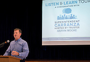 Houston ISD Trustee Harvin Moore comments  during a stop of Superintendent Richard Carranza's Listen & Learn Tour of the district at Memorial Elementary School, September 16, 2016.