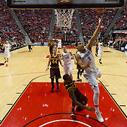 10 December 2016: The San Diego State Aztecs men's basketball team host's Saturday afternoon at Viejas Arena.  San Diego State guard Trey Kell (3) goes up for a layup in the first half.  The Aztecs fell to the Sun Devils 74-63. www.sdsuaztecphotos.com