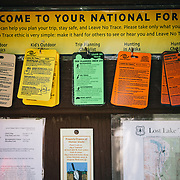 The information kiosk at the head of the Lost Lake Trail in Seward, Alaska.