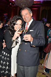 "NANCY DELL'OLIO and BRUNO PAILLARD at the presentation of Le Prix Champagne De La Joie de Vivre to Stephen Webster in celebration of his long standing contribution to ""Joie de Vivre' held at the Council Room, One Great George Street, London on 22nd April 2015."