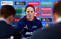 Amy Satterthwaite of New Zealand Women takes part in a Press Conference ahead of her side's World Cup Group Match against England Women, in which she will win her 100th cap - Mandatory by-line: Robbie Stephenson/JMP - 11/07/2017 - CRICKET - Bristol County Ground - Bristol, United Kingdom - England v New Zealand - ICC Women's World Cup