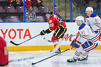 PENTICTON, CANADA - SEPTEMBER 17:  Dillon Dube #59 of Calgary Flames skates against Edmonton Oilers September 17, 2016 at the South Okanagan Event Centre in Penticton, British Columbia, Canada.  (Photo by Marissa Baecker/Shoot the Breeze)  *** Local Caption *** Dillon Dube;