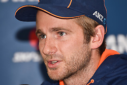 February 16, 2017 - Auckland, Auckland, New Zealand - New Zealand captain Kane Williamson  speaks to the media during a press conference ahead of a test Cricket match between South Africa and New Zealand. The match is scheduled tomorrow night. (Credit Image: © Shirley Kwok/Pacific Press via ZUMA Wire)