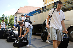 Jaka Lakovic and Gasper Vidmar at arrival of Slovenian basketball team from a friendly tournament in Spain, on August 9, 2010 at City Hotel, Ljubljana, Slovenia. (Photo by Vid Ponikvar / Sportida)