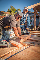 Construction workers begin the day in Calistoga, California.