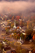 Aerial image of Meredith, New Hamsphire in the fall, America Northeast