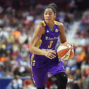 UNCASVILLE, CONNECTICUT- JULY 15:  Candace Parker #3 of the Los Angeles Sparks in action during the Los Angeles Sparks Vs Connecticut Sun, WNBA regular season game at Mohegan Sun Arena on July 15, 2016 in Uncasville, Connecticut. (Photo by Tim Clayton/Corbis via Getty Images)