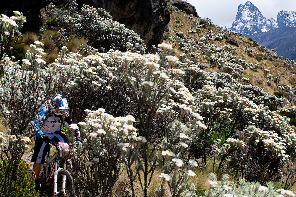 Location: Mont Kenya (Kenya) Urge Kenya 09/ The ultimate Mountain Bike gravity adventure at Mont-Kenya Athlete: Rene Wildhaber training on the race track between Old Moses camp (altitude 3300 meters) and Shipton Camps (altitude 4200 meters)