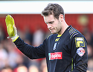 Owain Fon Williams of Tranmere Rovers holds his hand up during the Sky Bet League 1 match at the Lamex Stadium, Stevenage<br /> Picture by David Horn/Focus Images Ltd +44 7545 970036<br /> 08/03/2014